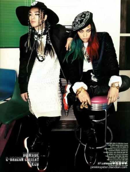 组图:G-Dragon携太阳登上韩国版《Vogue》