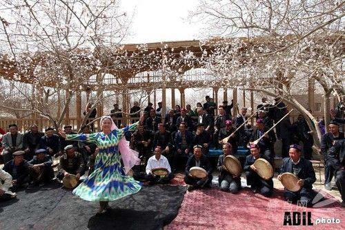 杏花树下的努肉孜节 摄影师:阿迪力·那的尔(新疆摄影家协会摄影师)