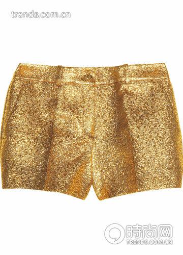 金色反光面料短裤