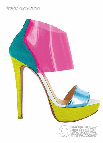 彩色PVC 拼接高跟鞋 Christian Louboutin