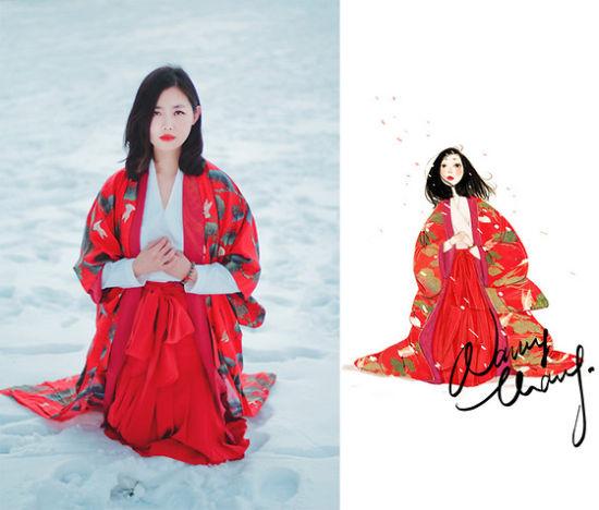 红色婚纱水彩设计手绘图