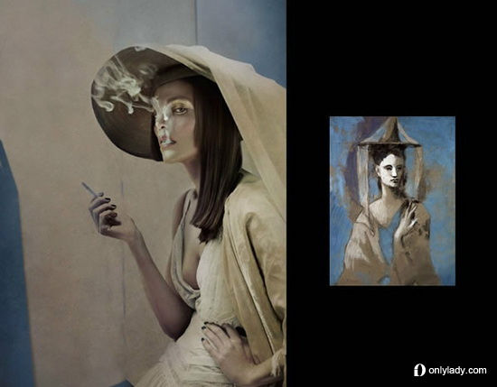 组图:西班牙摄影师还原毕加索名画中的女人