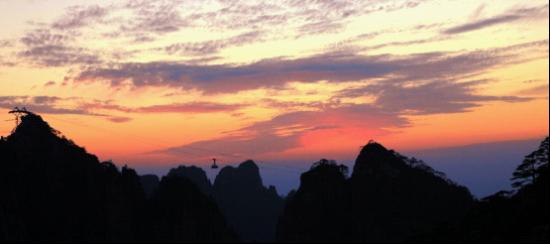 黄山夏之绚烂晚霞景观
