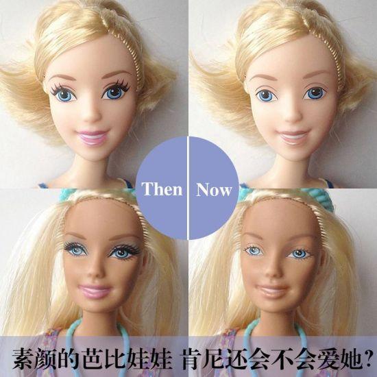 组图:多张对比图片让你感受卸妆后的芭比娃娃