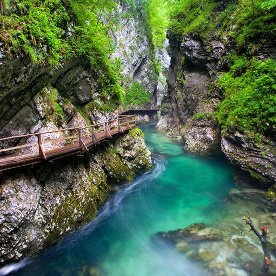 特里格拉夫国家公园的Vintgar峡谷(斯洛文尼亚)