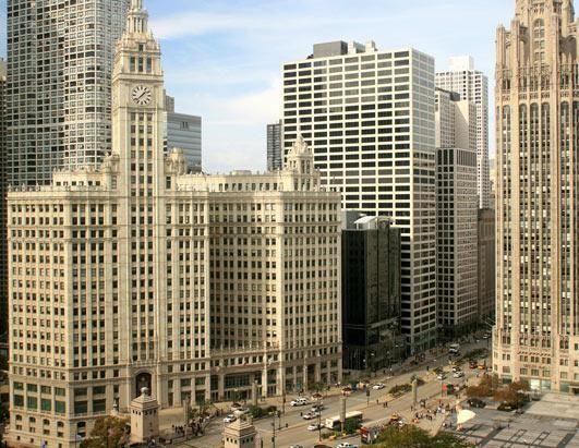 芝加哥的北密歇根大街和芝加哥河北岸
