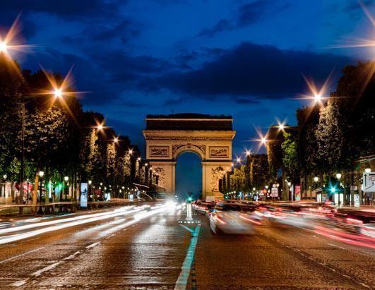 巴黎的香榭丽舍大道和凯旋门