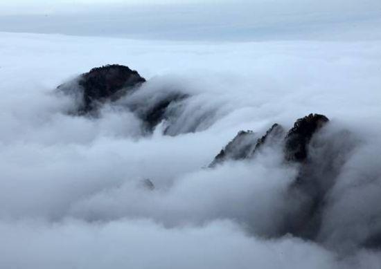 黄山风景雨后初晴,现壮丽瀑布云奇观