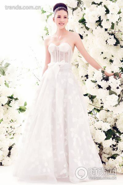 蕾丝饰鱼骨紧身胸衣乌干纱多层次裙摆半透明婚纱/DonnaLiu.Fang