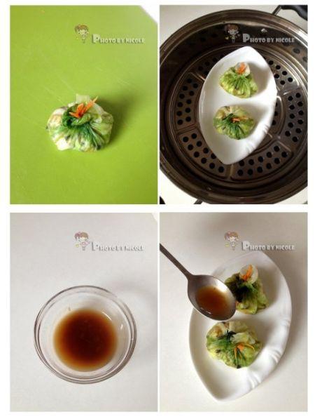鲜虾碧玉生菜饭包