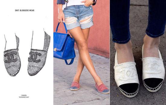 Chanel 草编底平底布鞋