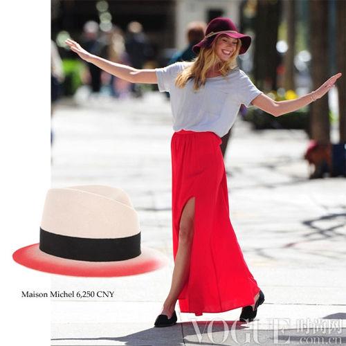 超模Candice Swanepoel宽檐帽造型示范