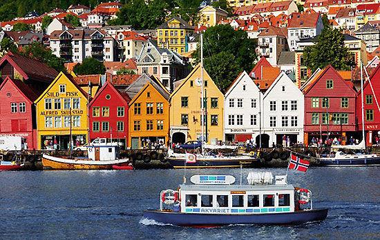 乘船出发:卑尔根(Bergen)码头的建筑
