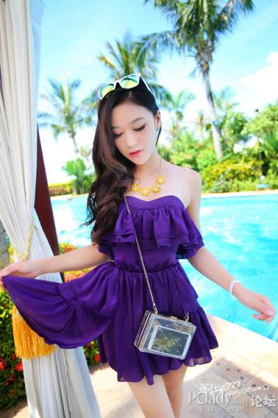 紫色抹胸裙