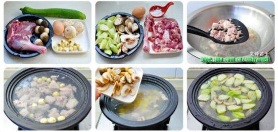 丝瓜蘑菇鸭羹制作步骤