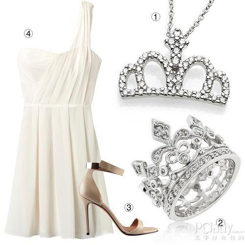 皇冠首饰+白色小礼裙