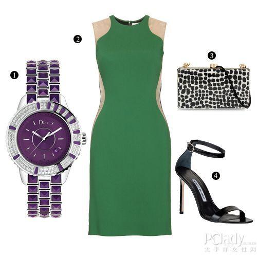 搭配推荐:拼色短裙+紫色钻表