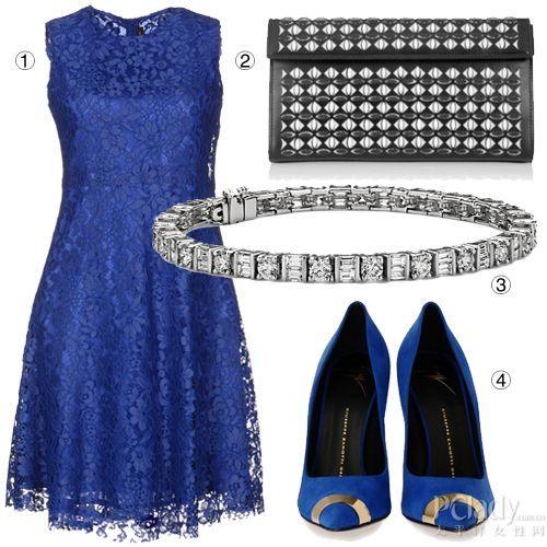 铂金钻石手镯+宝蓝色蕾丝礼服