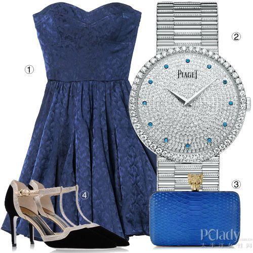 白金钻表+宝蓝色抹胸小礼裙