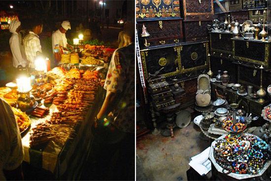 Forodhani Gardens美食广场(左) 石头城内的商店(右)
