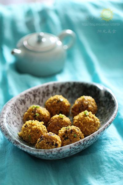 简单学做创意料理美食裹上图黄米肉丸子(虾仁的组图图南瓜吃足玉图片
