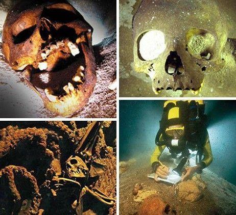 恐怖的海底人类骷髅