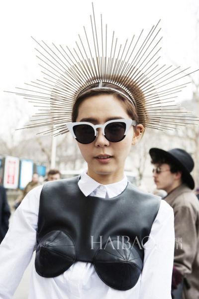 韩国女明星金娜英2013秋冬巴黎时装周秀场外街拍