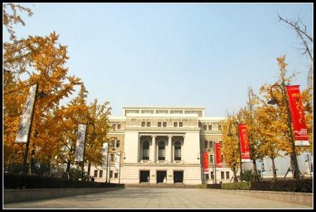 上海音乐厅的银杏广场,两侧时都种植有银杏树