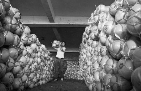 批发市场内,柚子堆成了小山。 CFP供图
