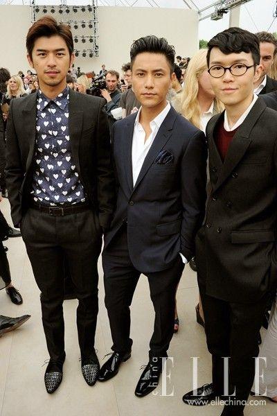 陈坤穿着Burberry商旅西装出席2014年春夏伦敦男装秀