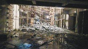 地下车库一层坍塌,四名工人被埋 通讯员 供图