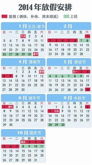 2014年节假日放假安排