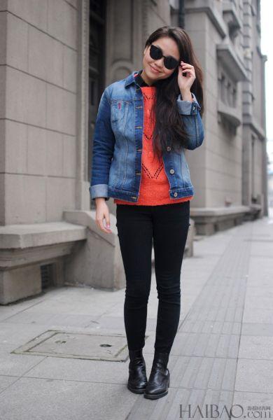 复古马海毛毛衣内搭黑色衬衫让冬季增添一丝温暖