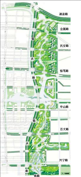 东部新城核心区生态走廊位置示意图