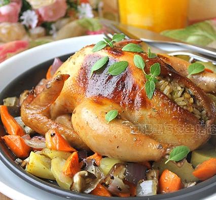 烤鸡瓤蘑菇饭