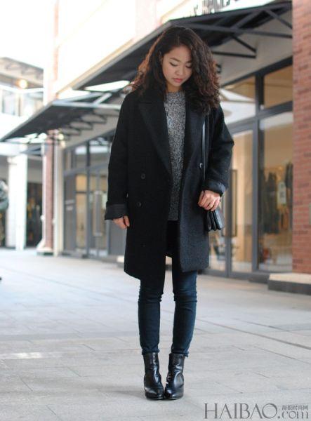 组图:潮人穿宽松超大款呢大衣演绎随意韩国风