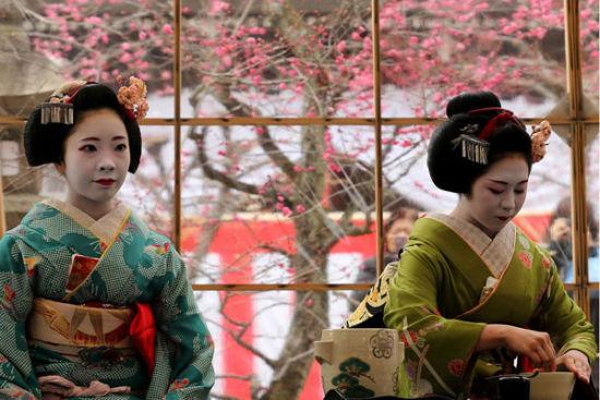 组图:喝杯艺妓煮的茶在日本神社赏梅逛市集