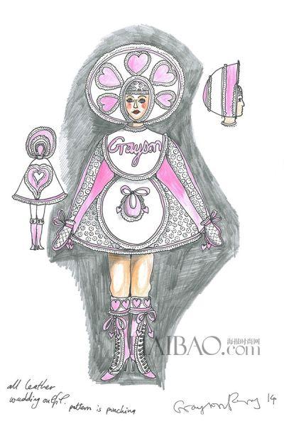 创意手绘礼服 婚纱作品草图支持慈善项目
