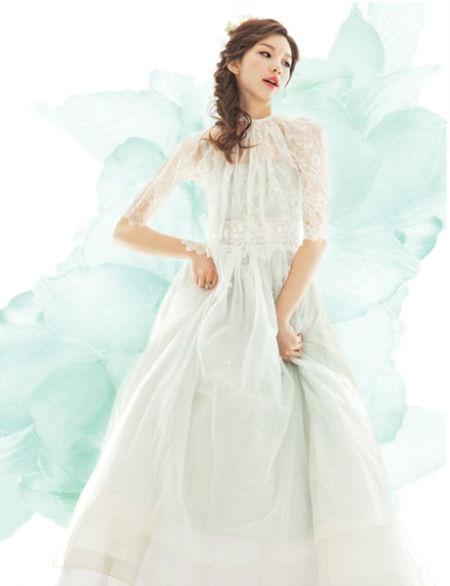 韩服范儿的唯美新娘婚纱别样的优雅美