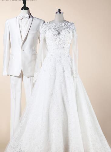 爱的双人舞婚纱与男士礼服绝配方案