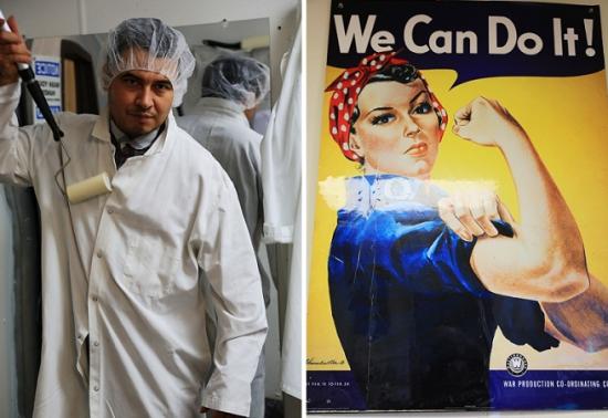 工厂的工人和店里的海报,相映成趣。