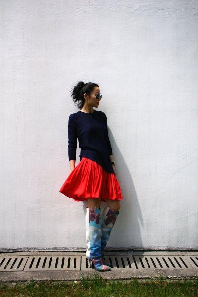 组图:春日红裙耀眼来袭达人教你穿出别样风尚