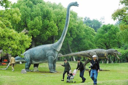 昨天,恐龙展布展就绪。