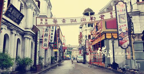 广州街香港街以逼真的实景建筑