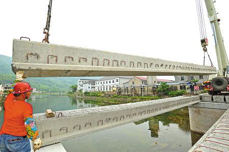 奉化大堰开建仿古廊桥。