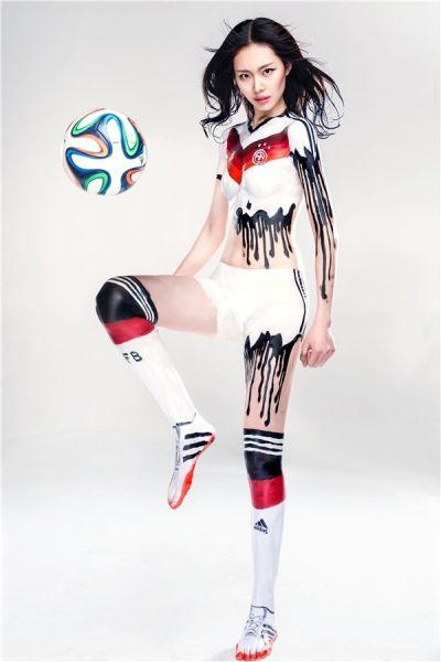 呼和浩特【朗廷国际】世界杯运动人体彩绘 倡导绿色