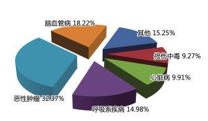 2013年宁波市户籍居民主要死因构成比