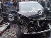 内蒙古赤峰警车遭撞击失控撞死2位行人