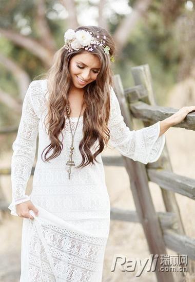 完美新娘的鲜花头饰