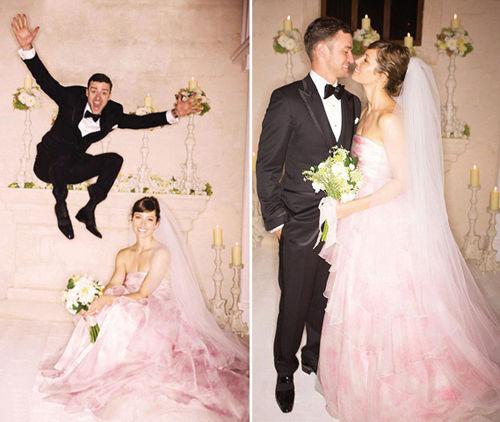 穿婚纱换新口味彩色系婚纱席卷时尚潮流